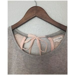 Maison Jules Tops - Macy's Dual Colored Grey and Pink Top w/ Bow Back